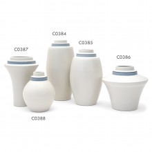 Grouping of Stepped Porcelain Vases with Blue Banding