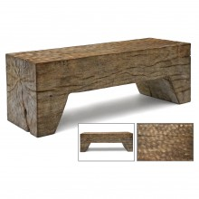 Cerused Wood Bench with Carved Top