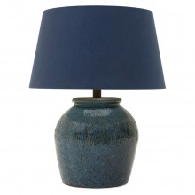 Textured Blue Ceramic Lamp