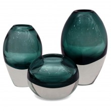 Set of 3 Molded Jasper Glass Vases