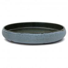 Flat Blue Ceramic Bowl