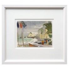 Watercolor Seaside Scene by Jacques Petit