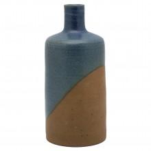 Partly Glazed Blue Stoneware Vase