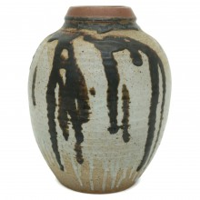 Beige, Gray and Brown Glazed Vase