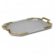 Aluminum Tray with Brass Handles