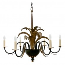 Black Iron and Gilded Chandelier