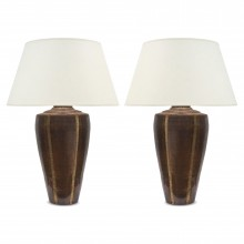 Pair of Hammered Copper and Brass Lamps