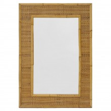 French Bamboo and Rattan Mirror