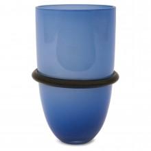 Kosta Boda Blue and Black Vase