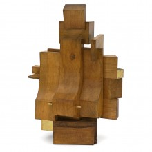 Abstract Wood and Brass Sculpture