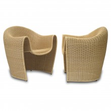 Pair of Shaped Rattan Chairs