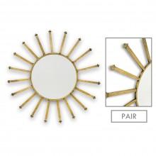Pair of Large Brass Sunburst Mirrors