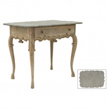 Bleached and Carved Table with Drawer