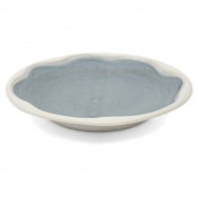 Blue Porcelain Plate With White Edge