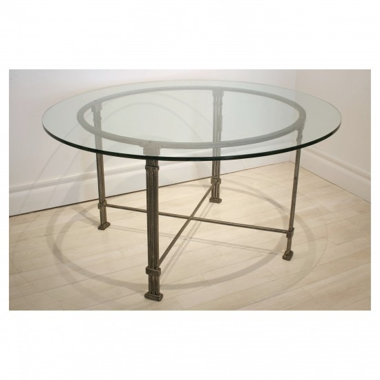 Round Steel Table with Glass Top