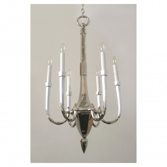 French Art Deco Nickel Plated Chandelier
