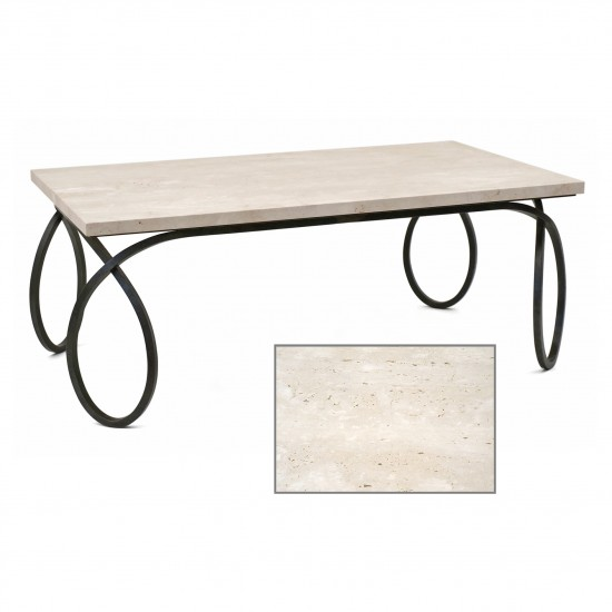 Iron Coffee Table with Travertine Top