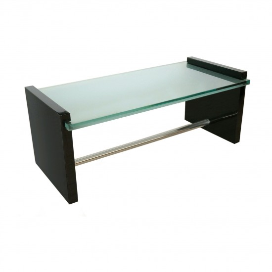 Black Lacquer, Glass and Nickel Silver Coffee Table