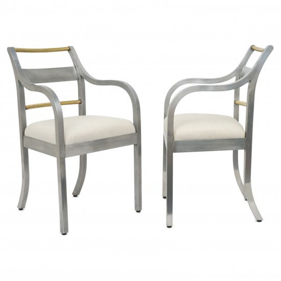 Pair of Italian Aluminum and Brass Chairs