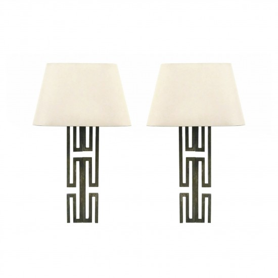 Pair of Geometric Metal Sconces