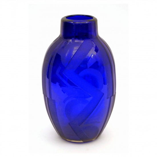 Etched Cobalt Blue Art Deco Vase Signed Sand B3474 Bk Antiques