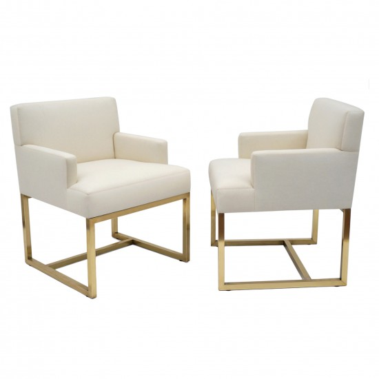 Pair of Upholstered Armchairs with Brass Bases