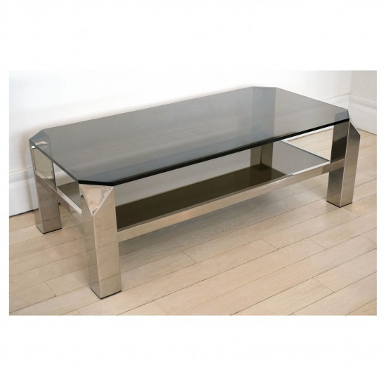 Two Tiered Chrome and Gray Glass Coffee Table