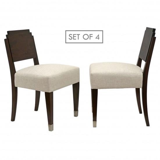 Set of Six Walnut Art Deco Dining Chairs
