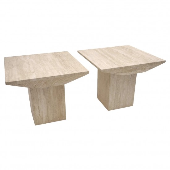 Pair of Travertine Side Tables