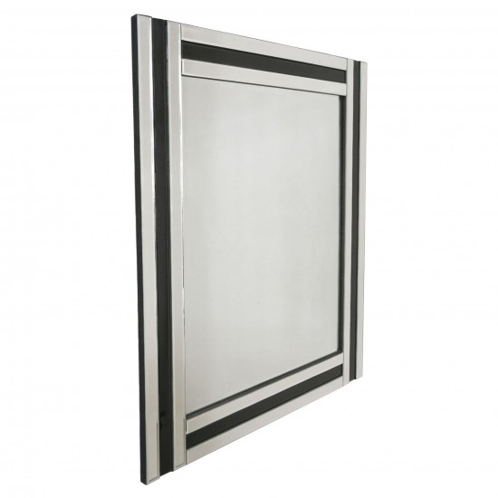 French Mirror with Black and Clear Pieced Border
