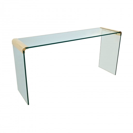 Glass And Brass Plated Console Or Sofa Table B4744 Bk Antiques