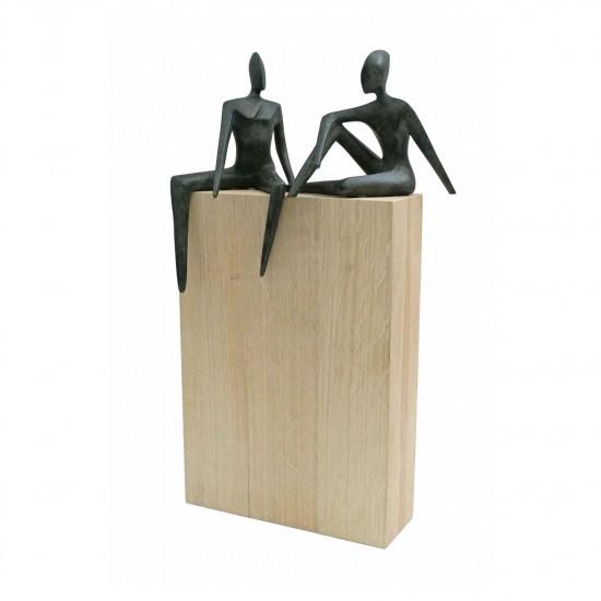 Bronze Figural Sculptures on White Oak Plinth