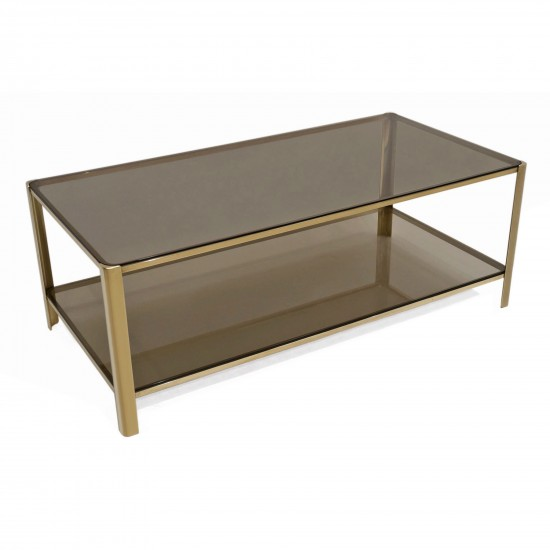 Two Tiered Brass Coffee Table By Malabert