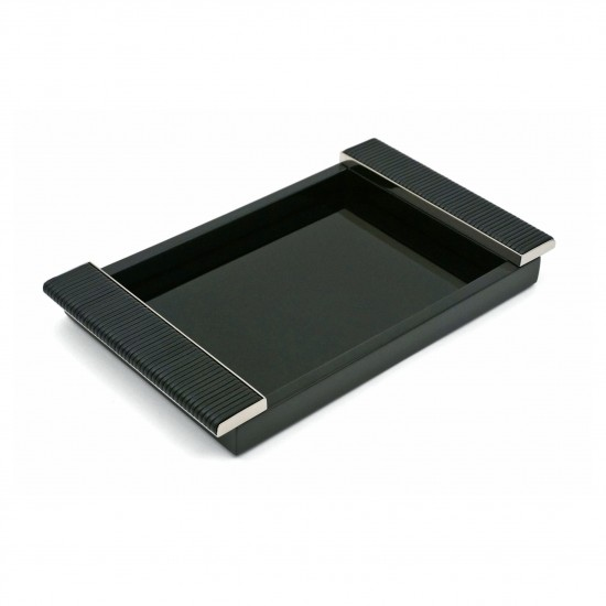 Black Lacquered Tray with Chrome and Leather Handles