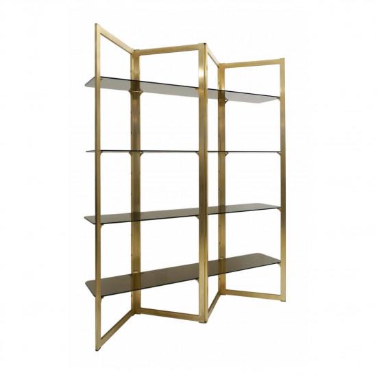 Brass Zig-Zag Etagere with Four Glass Shelves