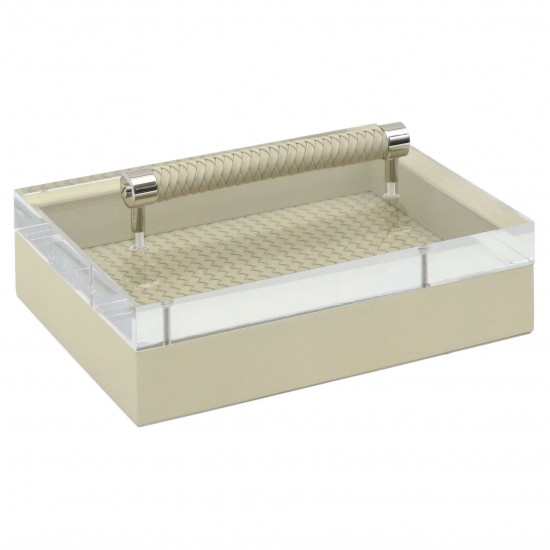 Ivory Leather and Lacquer Box with Lucite Lid