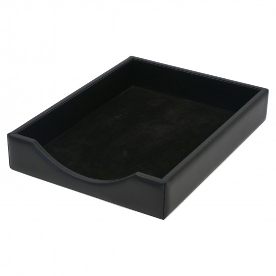 Italian Black Leather Letter Tray