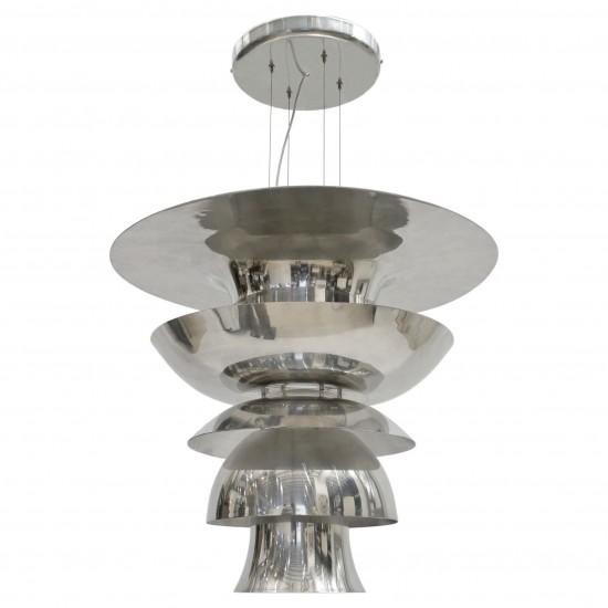 Large Polished Aluminum Pendant Light Fixture (B6806)   BK Antiques