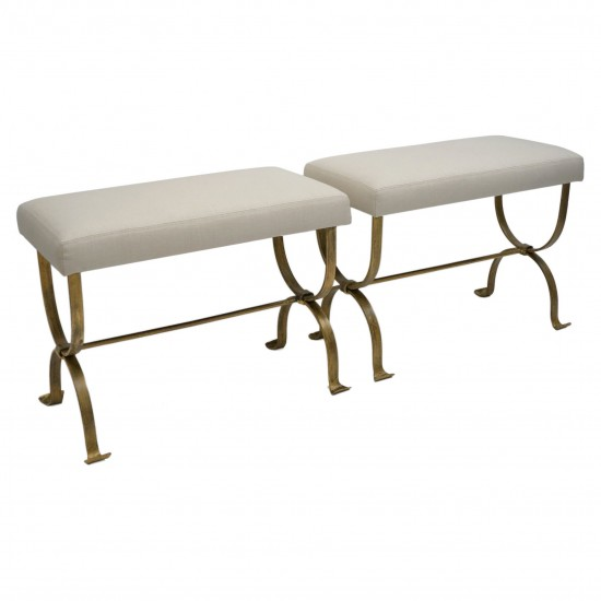 Pair of Gilt Iron Benches with Upholstered Seats