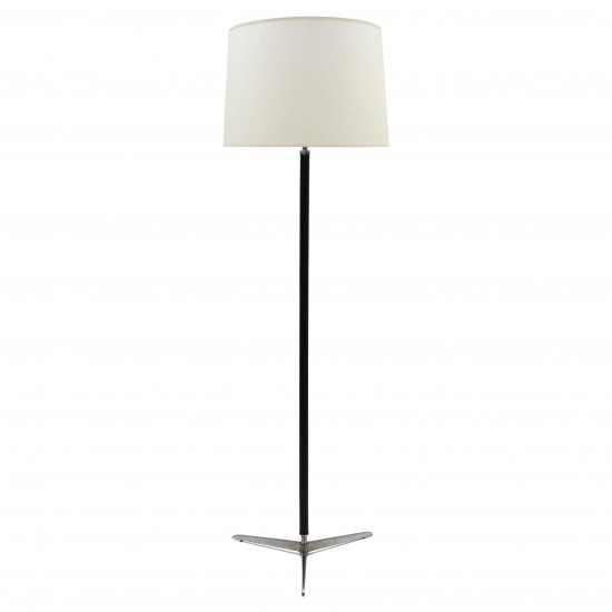 Leather and Chrome Standing Lamp