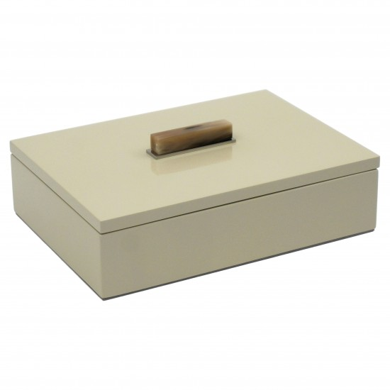 Champagne Lacquer Box with Horn and Chrome Handle