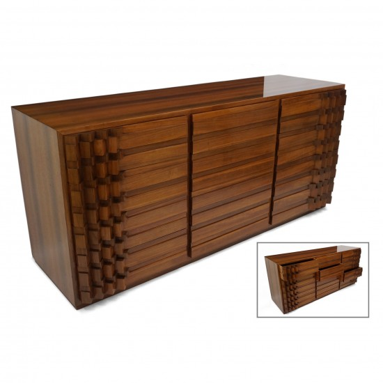 Italian Rosewood Commode in Brutalist Style