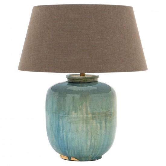 Blue Green Ceramic Lamp With Shade, Blue And Green Lamp Shade