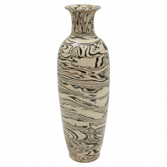 Tall Thin Marbleized Stoneware Vase B7137 Bk Antiques