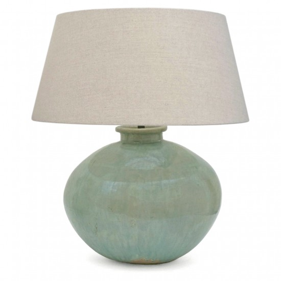 Large Drip and Crackle Glazed Blue / Green Ceramic Lamp