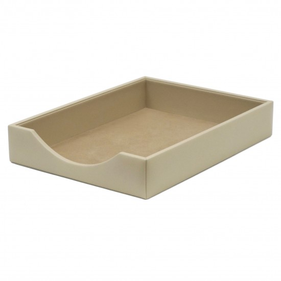 Italian Ivory Leather Letter Tray