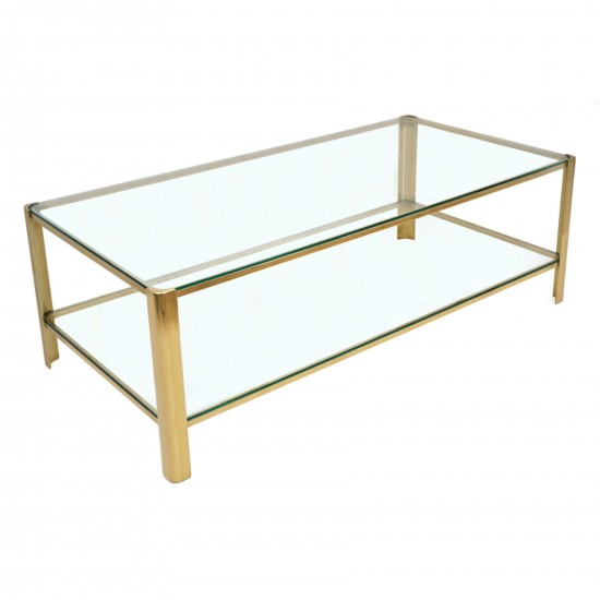 Two Tiered Brass And Glass Coffee Table B7328 Bk Antiques