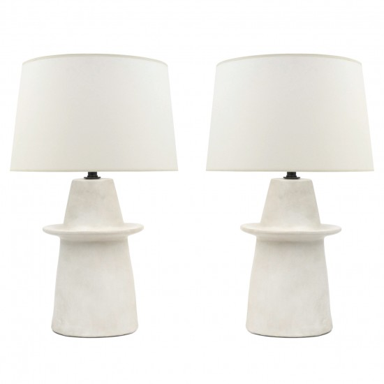 Pair Of Off White Ceramic Table Lamps