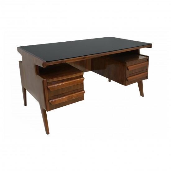 Italian Rosewood Four Drawer Desk