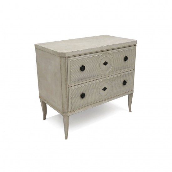 Painted Two Drawer Commode with Ribbed Detailing